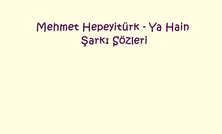 Mehmet Hepeyitürk - Ya Hain Şarkı Sözleri